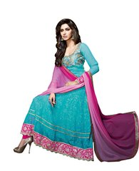 Designer Semi Stitched Blue Georgette Long Anarkali Dress Material SC2605