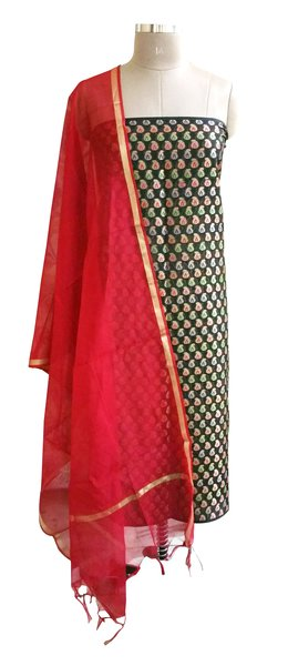 Designer Banarsi Red Cotton Silk Weaven Shalwar Kameez Dress Material BSD04