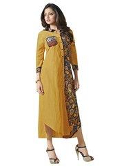 Designer yellow Vicose Satin+Digital Print Kurti Kurta Dress Size XL SCLT907