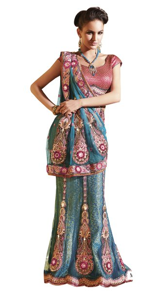 Net Brocade Blue Embroidered Lehenga Saree Sari SC6104