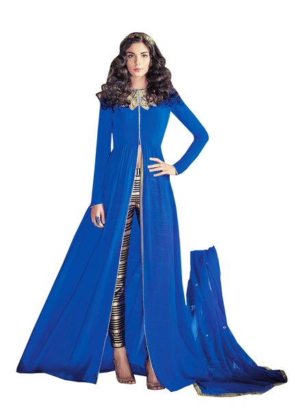 Designer Blue Georgette Long Semi stitch Anarkali Partywear Dress material SC4002