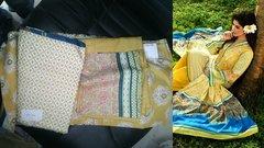 Designer Original Pakistani Sana Samia Yellow Lawn Cotton Dress material SSL5A