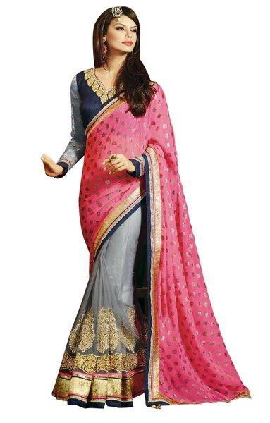 Designer Pink Chiffon Gray Embroidered Saree Sari SC1301