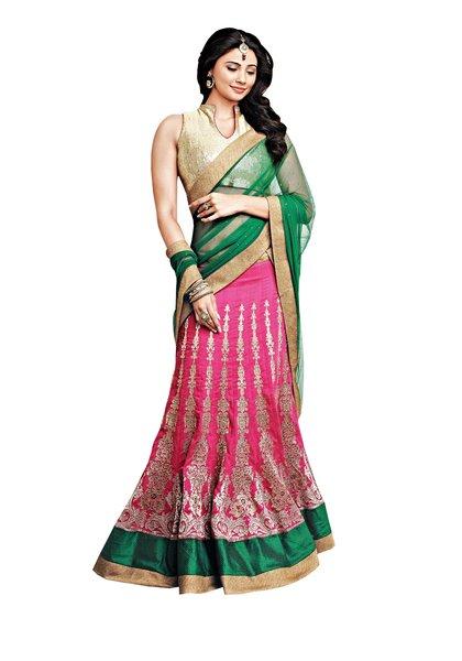Pink Cream Georgette Three Piece Lehenga Choli Dupatta Fabric Only SC2360