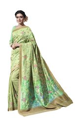 Green Floral Soft Embroidered Thappa Silk Saree SC30245