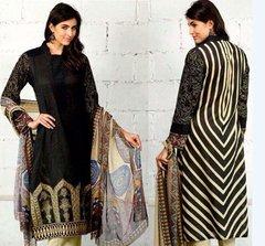 Designer Pakistani Replica Black French Crepe Printed Dress Material SUR8