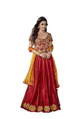 Designer Stitched Red Chanderi Lehenga Ghagra Choli Dupatta Skirt Crop Top SIZE L 40 SC1010