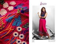 Designer Magenta Linen Cotton Embroidered Palazo Pants Free Size P707