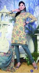 Spun Cotton Grey & light Yellow Lacer Salwar Kameez Churidar Dress Meterial SC 1054D