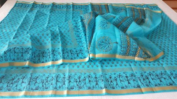 Designer Sky Blue Gold Border Kota Cotton Printed Saree KCS78