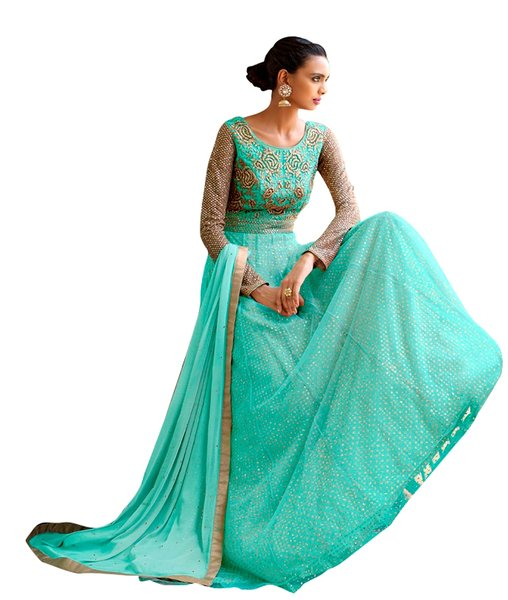 Designer Semi Stitched Sea Green Fusion Style Net Dress Material