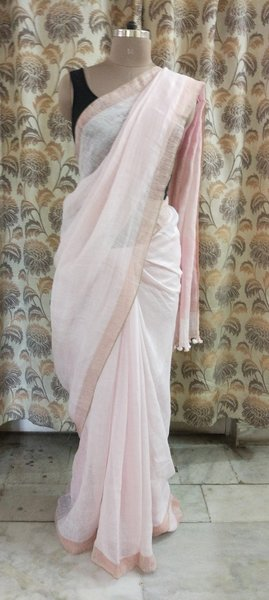 Exclusive Zari Weaven Linen By Linen 80 Count Light Pink Saree 1