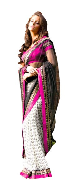 Black Off White Tissue Saree SC31527