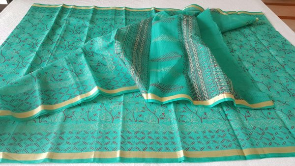 Designer Green Gold Border Kota Cotton Printed Saree KCS81