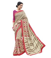Designer Cream Printed Lacer Border Art Silk Saree SC30338