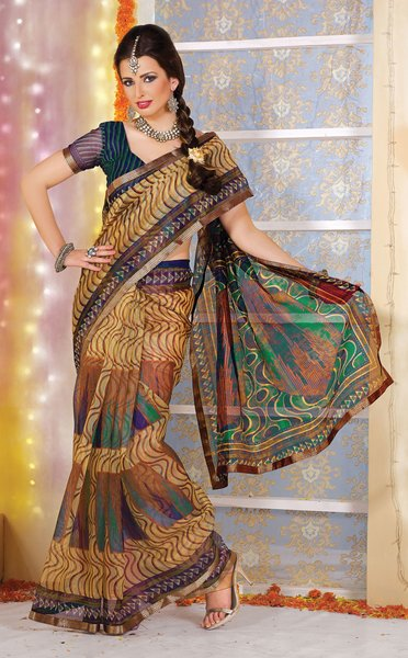 Supernet Cotton Lacer Printed Light brown green saree sari SC1125