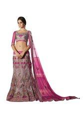 Net Three Piece Lehenga Choli Dupatta Fabric Only  SC1815