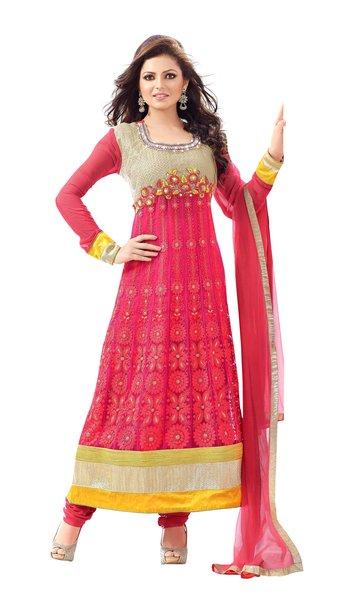 Designer Semi Stitched Pink Anarkali SC48008
