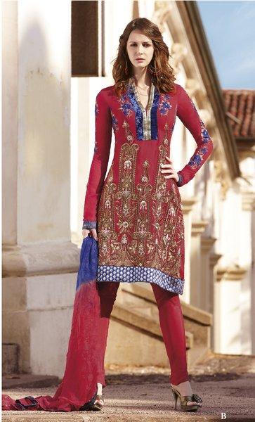 Designer Carrot Pink Georgette Embroidered Salwar Kameez Churidar Dress Material SC7154B