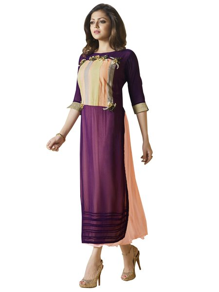 Designer Purple Peach Georgette Kurti Kurta Dress Size XL SCLT906