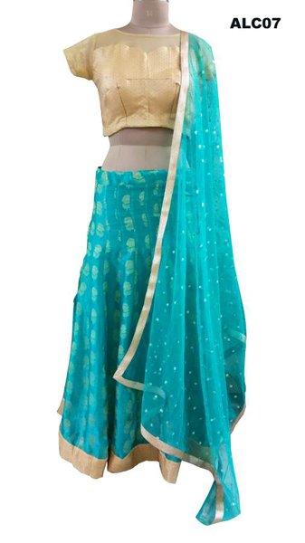 Turquoise Woven Lehenga Choli with Brocade Net Blouse and Sequin Dupatta ALC07