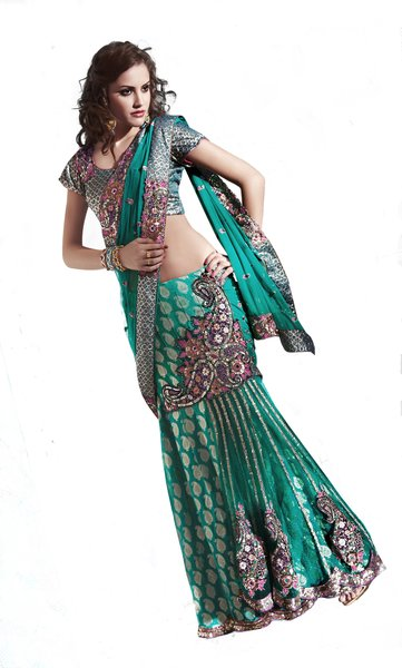 Designer Turquoise Net and Fancy Fabric Embroidered Saree SC2115