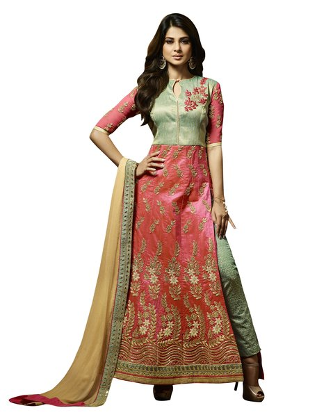 Designer Peach Green Semi Stitched Banglore Silk Dress Material