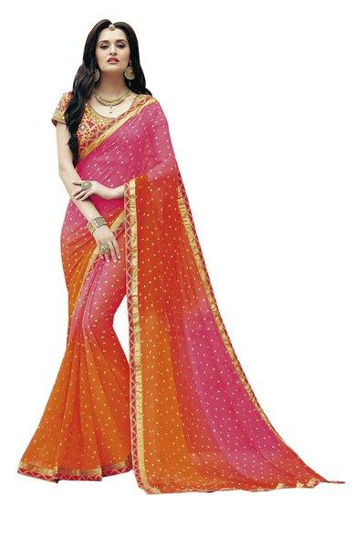 Designer Orange Bandhej Print Embellished Georgette Saree K3208