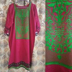 Designer Semi Stitched Pink Pakistani Embroidered Kurti Kurta Tunic PK07