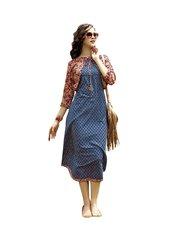 Designer Blue Cotton Printed Long Kurti Kurta Dress Style Size 42 XL SC1004