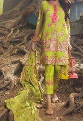 Designer Replica Mina Hasan Green Georgette Embroidered Dress Material Mina4