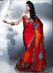 Designer Orange Jequard Crepe Embroidered Saree 406