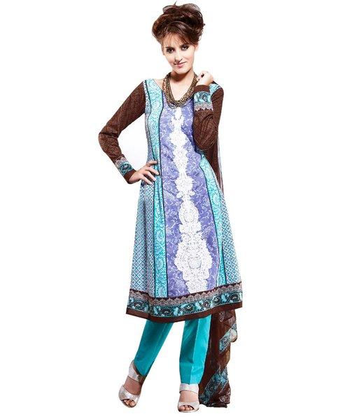 Cotton Blue Salwar Kameez Churidar Fabric SC8140A