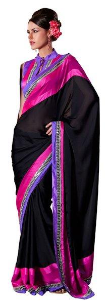 Black,purple,Magenta Embellished Crepe saree SC8414B