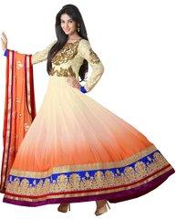 Cream Georgette Long Anarkali Dress Material SC5007