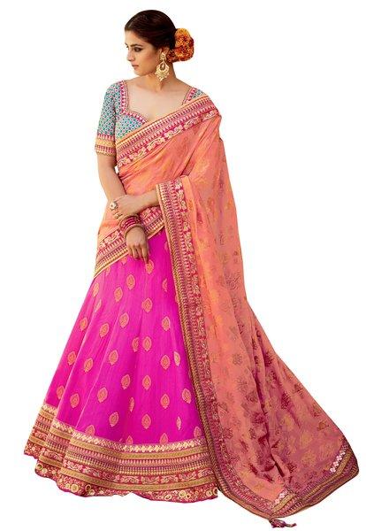 Pink Peach Pure Silk Lehenga Choli Dupatta L501