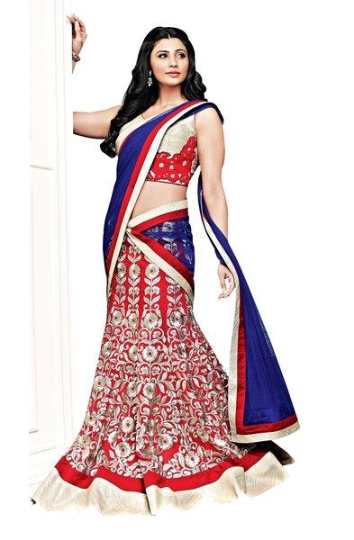 Red Cream Cotton Mix Three Piece Lehenga Choli Dupatta Fabric Only SC2366