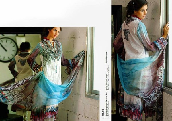 Designer Pakistani Replica Off White French Crepe Printed Dress Material SUR4