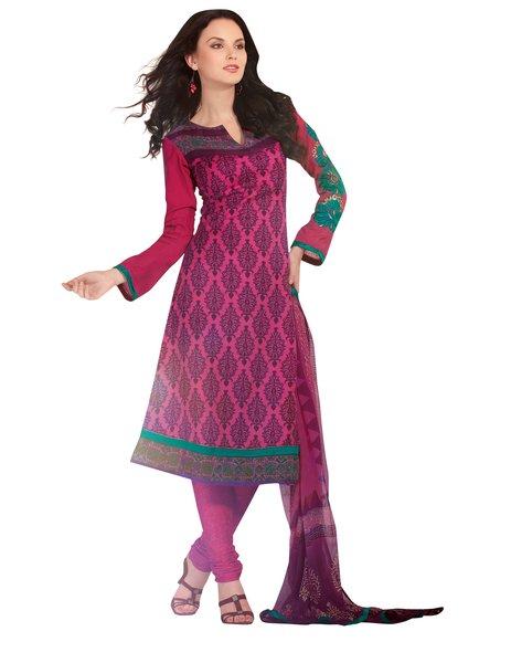 Purplish Pink Winter Pashmina Embroidered Dress Material