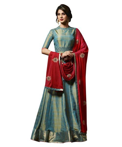 Designer Teal Blue Semi Stitched Banglore Silk Dress Material