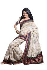 Designer Off white Bhagalpuri cotton silk Embellished Border Saree SC906