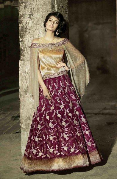Heavy Wedding  Velvet Pink Cream   Lehenga Choli SC15005