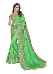 Designer Two Tone Green Silk Border Saree with Blouse and Jacket