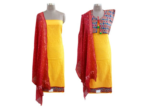 Exclusive Yellow Cotton Dress Material With Kutchi Embroidered Ethnic Jackets JSD20