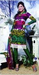 Spun Cotton Green & Multi Lacer Salwar Kameez Churidar Dress Meterial SC 1055C