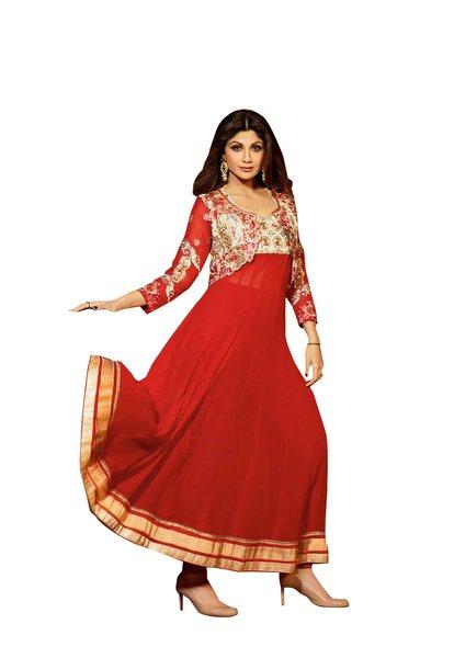 Shilpa Shetty Exclusive Red Anarkali SC6007
