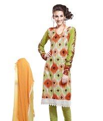 Cotton Green Salwar Kameez Churidar Fabric SC8131C