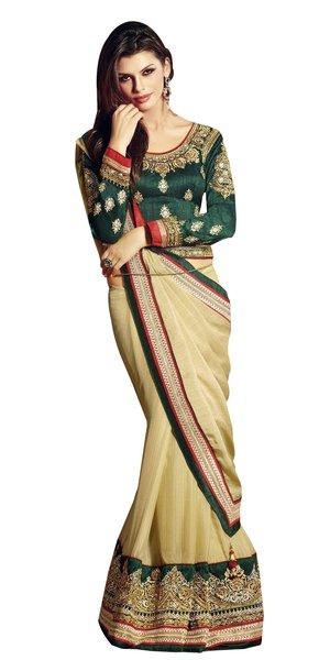 Designer Chiffon Cream Embroidered Saree SC1308