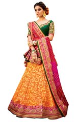 Yellow Multi Pure Silk Lehenga Choli Dupatta L511