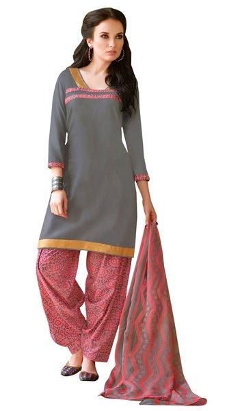 Grey Cotton Patiala Printed Dress Material
